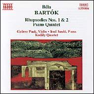 Bartók Béla: Rapszódiák I. és II.; Zongoraötös