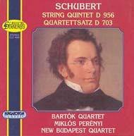 Schubert, Franz: C-dúr vonósötös D. 956, c-moll vonósnégyes (quartettsatz) D 703