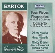 Bartók Béla: Négy zenekari darab; 2 rapszódia; Brácsaverseny