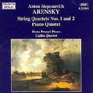 Arensky, Anton Stepanovich: Vonósnégyesek No. 1 és 2.; Zongoraötös, Op. 51
