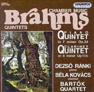 Brahms, Johannes: f-moll zongoraötös Op. 35; h-moll klarinétötös Op. 115